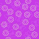 Prostego schematycznego konturu biali kwiaty i motyl na różowym b Obraz Royalty Free