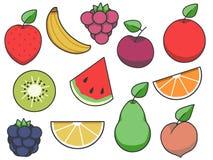 Prostej owoc ikony wektorowa kolekcja z truskawką, jabłkiem, bonkretą, cytryną, arbuzem i inną owoc, ilustracja wektor