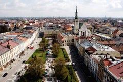 Prostejov från stadshustornet, Tjeckien Fotografering för Bildbyråer