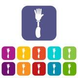 Prosthesis hand icons set flat Stock Photography