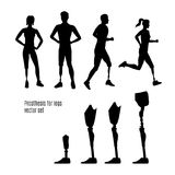 Prosthesis for legs vector silhouettes. Royalty Free Stock Photo