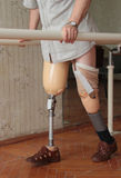 Prosthesis. Male prosthesis wearer training in a special interior area Stock Images