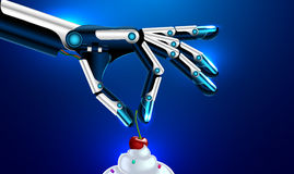 Prosthetic hand or arms puts the cherry on the cake. Medical robotic prosthetic hand or arms puts the cherry on the cake. robot arm, . Set Royalty Free Stock Photography