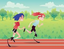 Prosthetic runners in the park. Royalty Free Stock Photography