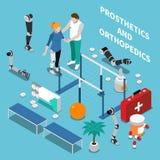 Prosthetics and Orthopedics Isometric Composition. Prosthetics and orthopedics  composition with medicine symbols on blue background isometric vector Stock Photography