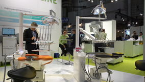 Prosthetists tries new equipment for dental crowns stock footage