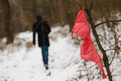Prostitución - sujetador rojo en el bosque - hombre joven en el fondo foto de archivo libre de regalías