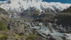 Prostituteraddalspår i den Aoraki nationalparken, Nya Zeeland, södra ö lager videofilmer