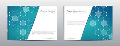 Prostokąt broszurki szablonu układ, pokrywa, sprawozdanie roczne, magazyn w A4 rozmiarze z heksagonalną molekuły strukturą ilustracji