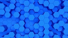 Prostokąt ciemnoniebieski (tło). Animacja 3D niebieskich sześciokątów wznoszących się w górę i w dół ilustracji