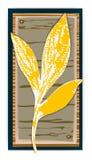 Prostokątna etykietka z liściem royalty ilustracja