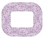 Prostokątna rama z plemiennym doodle wzorem od geometrycznych kształtów Zdjęcie Royalty Free