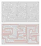 Prostokątny labirynt średnia złożoność na bielu i rozwiązanie z czerwoną ścieżką royalty ilustracja