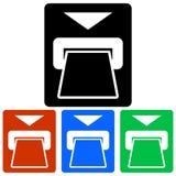 Prostokątny, mieszkania ATM wszywki karty tutaj ikona cztery różnice Obrazy Royalty Free