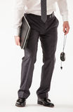 Prostrate businessman holding a notebook and a mouse Royalty Free Stock Photos
