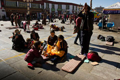 Prostrators of Jokhang Temple and Barkhor Square Lhasa Tibet Royalty Free Stock Photography