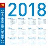 Prosty błękita kalendarz dla roku 2018 W hiszpańszczyznach, tydzień Zdjęcie Stock