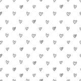 Prosty bezszwowy wektoru wzór abstrakcjonistyczni pociągany ręcznie serca na białym tle Zdjęcia Royalty Free