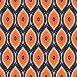 Prosty bezszwowy wzór Lato falisty druk Pomarańcze, czerń i wh, Zdjęcie Royalty Free