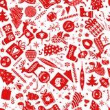 Prosty bezszwowy wzór z różnorodność elementami: Choinki, płatki śniegu, gwiazdy, rogacz, skarpety, piłki, kwieciste ilustracja wektor