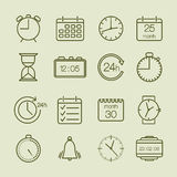 Prosty czas i kalendarzowe ikony Zdjęcie Stock