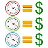 Prosty ` czas jest pieniądze ` piktograma pojęciem 3 różnicy Zdjęcie Royalty Free