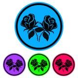 Prosty, czerni róży sylwetki ikony kurenda cztery różnice Odizolowywający na bielu ilustracji