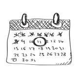 Prosty doodle kalendarz ilustracja wektor