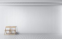 Prosty drewniany pokoju 3d rendering Zdjęcia Stock