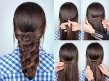 Prosty fryzury tutorial Obrazy Stock