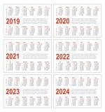 Prosty horyzontalny kalendarz dla 2019, 2020, 2021, 2022, 2023 i 2024 rok, ilustracja wektor