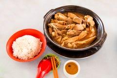Prosty i autentyczny Bak Kut naczynie z ryż Obrazy Stock