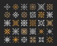 Prosty i pełen wdzięku kwiecisty monograma projekta szablon, Elegancki lineart loga projekt, wektorowa ikony ilustracja Nowożytny Zdjęcie Stock