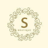 Prosty i pełen wdzięku kwiecisty monograma projekta szablon, Elegancki lineart logo, wektorowa ilustracja dla butika, salon Zdjęcie Stock
