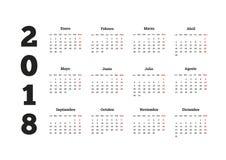 Prosty kalendarz na 2018 rok w hiszpańskim języku Zdjęcie Stock