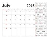 Prosty kalendarzowy planista dla 2018 rok Obraz Royalty Free
