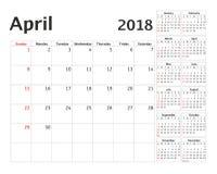 Prosty kalendarzowy planista dla 2018 rok Fotografia Royalty Free