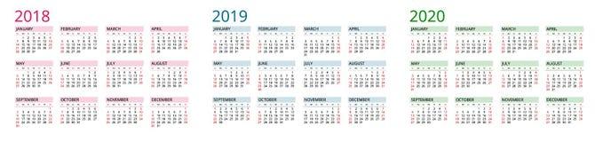 Prosty Kalendarzowy szablon dla 2018, 2019 i 2020, Tydzień zaczyna od Niedziela Mieszkanie stylu koloru wektoru ilustracja corocz Zdjęcia Stock