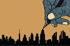 Prosty kreskowy rysunek budynek w dużym mieście Zdjęcia Royalty Free