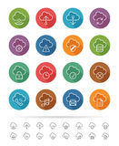 Prosty kreskowy styl: Chmury & dane związku ikony ustawiają - Wektorową ilustrację Obraz Stock
