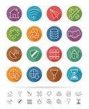 Prosty kreskowy styl: Internetowe & Komunikacyjne ikony ustawiają - Wektorową ilustrację Zdjęcie Royalty Free