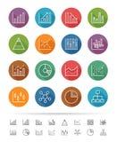 Prosty kreskowy styl: Mapy i wykresu ikony ustawiają - Wektorową ilustrację Fotografia Stock