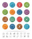 Prosty kreskowy styl: Pieniężnej inwestyci ikony ustawiać - Wektorowa ilustracja Obraz Stock