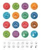Prosty kreskowy styl: Pogodowe ikony ustawiać - Wektorowa ilustracja Zdjęcie Stock