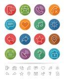 Prosty kreskowy styl: Sieci & wiszącej ozdoby ikony ustawiają - Wektorową ilustrację Fotografia Stock