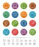Prosty kreskowy styl: Urządzenie Elektroniczne ikony ustawiać - Wektorowa ilustracja Zdjęcie Royalty Free
