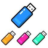 Prosty, mieszkania USB/flash przejażdżki ikona Cztery kolor różnicy Odizolowywający na bielu ilustracji