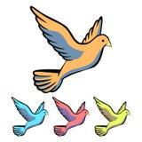 Prosty, mieszkanie gołąbki ikona Cztery kolor różnicy Odizolowywający na bielu ilustracji
