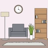 Prosty minimalistyczny żywy izbowy wektor ilustracja wektor