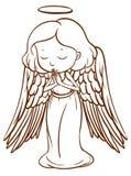 Prosty nakreślenie anioła modlenie ilustracja wektor